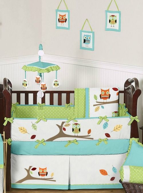 Transform your nursery into a woodsy wonderland with the delightful 9 piece Turquoise and Lime Green Hooty Owl baby bedding set by Sweet Jojo Designs.  This adorable crib bedding set features detailed owl and tree themed appliqués and embroidery works which are brought together with bright, cheerful colors of turquoise, lime, orange, yellow, taupe, and white.  babysownroom.com