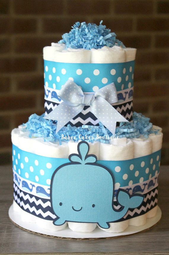 Small 2 Tier Whale Diaper Cake Boy Baby Shower Blue Navy Diaper