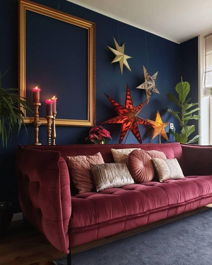 Interior Design Burgundy Living Room Blue Living Room House Interior