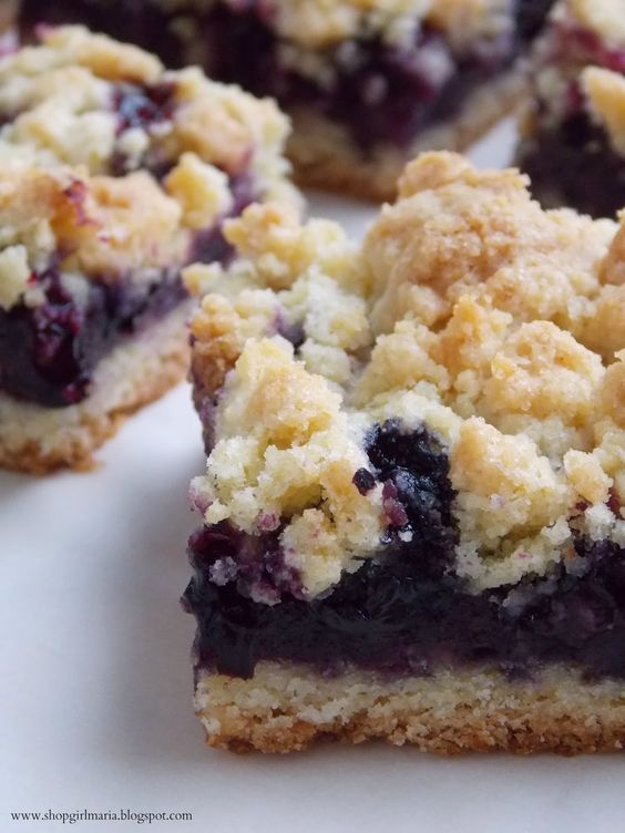 Blueberry Crumb Bars. I made these with strawberry preserves, cherry preserves, pineapple preserves & raspberry seedless jam. They are very good with every preserve or jam. I also baked these @350° F for about 33 minutes..