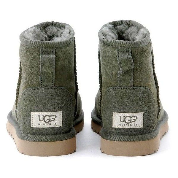 Ugg Mini Classic Hunter Green Ankle Boots ❤ liked on Polyvore featuring shoes, boots, ankle booties, ugg® bootie, short boots, ugg boots, green hunter boots and ankle bootie boots