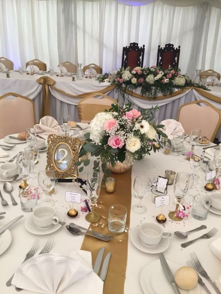 Pink white gold black Wedding table. Gold bowl. Gold table runner #wanderlustfloristry