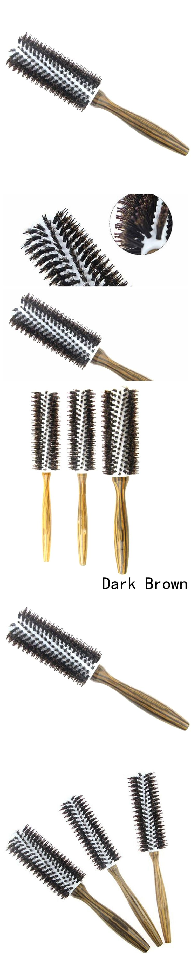 Roll Round Hair Brush Comb Brush Hair Care Tool Wood Handle Natural Bristle Curly Hair Brush Fluffy Comb Hairdressing