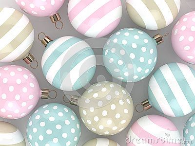 3d rendering of christmas pastel baubles over gray background