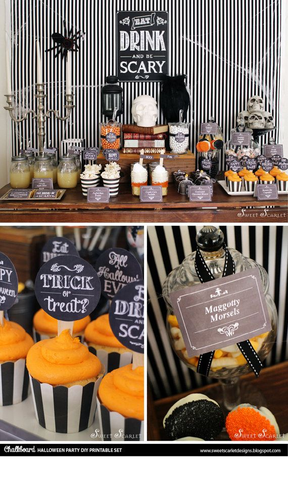 HALLOWEEN Chalkboard Printable Set – Eat, Drink and Be Scary, cupcake toppers, favor tags, party signs, bag toppers – Brittany Redmond