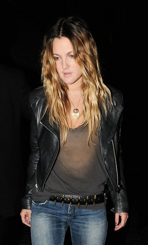 ombre sunfaded bullet belt leather jacket…drew has never looked better