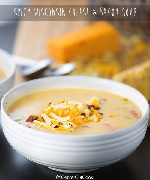 "Spicy Wisconsin Cheese  Bacon Soup {CenterCutCook}..""Creamy Wisconsin Cheese & Bacon Soup with spiced gouda, habanero jack, and sharp cheddar cheese with crispy bacon! An easy recipe that comes together fast!"""