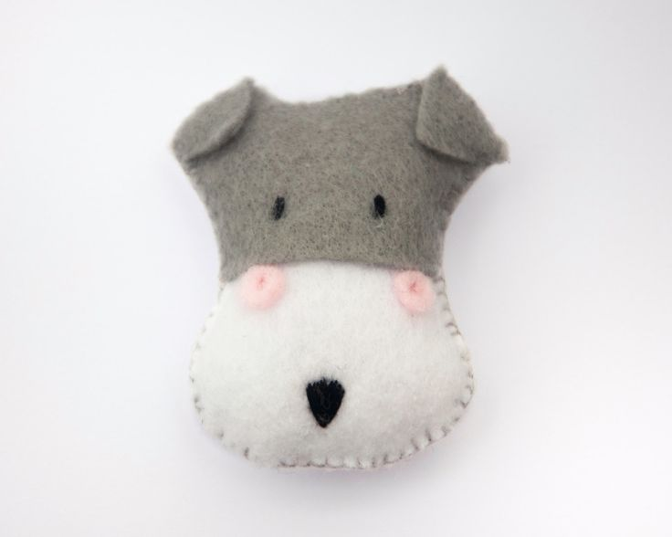 Handmade Schnauzer Dog Felt Brooch by LizzieMayDesign on Etsy