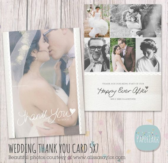 Wedding Thank You Card - Photoshop template - AW016 - INSTANT DOWNLOAD on Etsy, $9.18 AUD