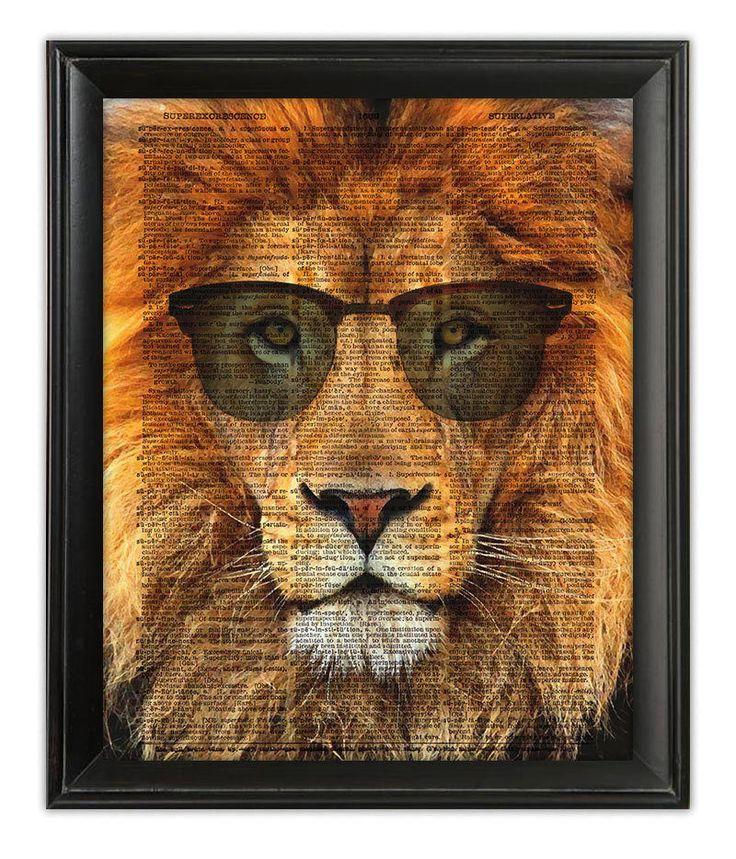 Cool LION RayBans Sunglasses Safari Leo Dictionary Art Print Poster GICLEE 5x7 #Vintage