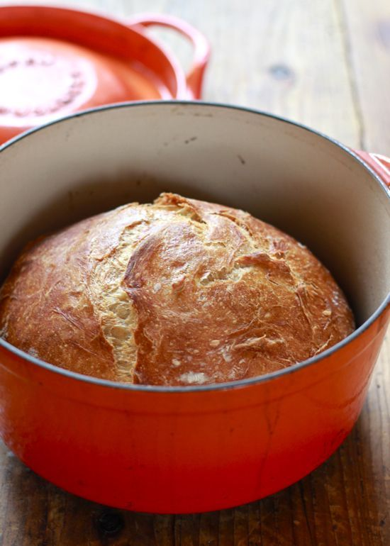 no-knead artisan bread | The Clever Carrot. Dutch oven // Pyrex with lid.