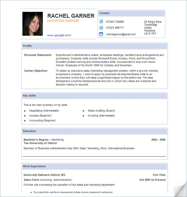 8 best Resume images on Pinterest Cv format, Resume format and - resume sample in word