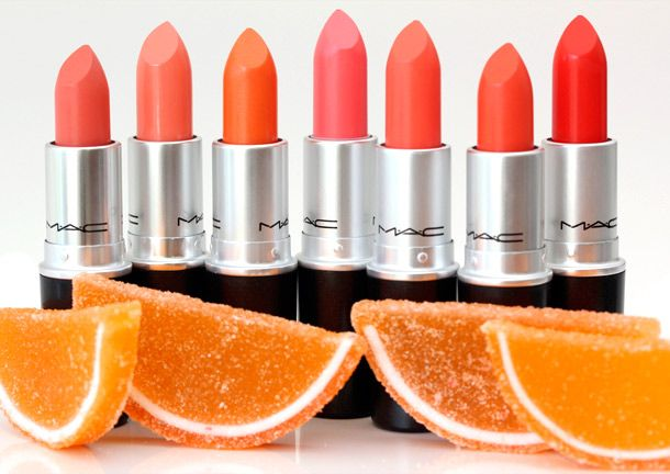 MAC All About Orange Lipsticks from the left: Razzledazzler, Sweet & Sour, Tangerine Dream, Flamingo, Sushi Kiss, Tart & Trendy, Neon Orange