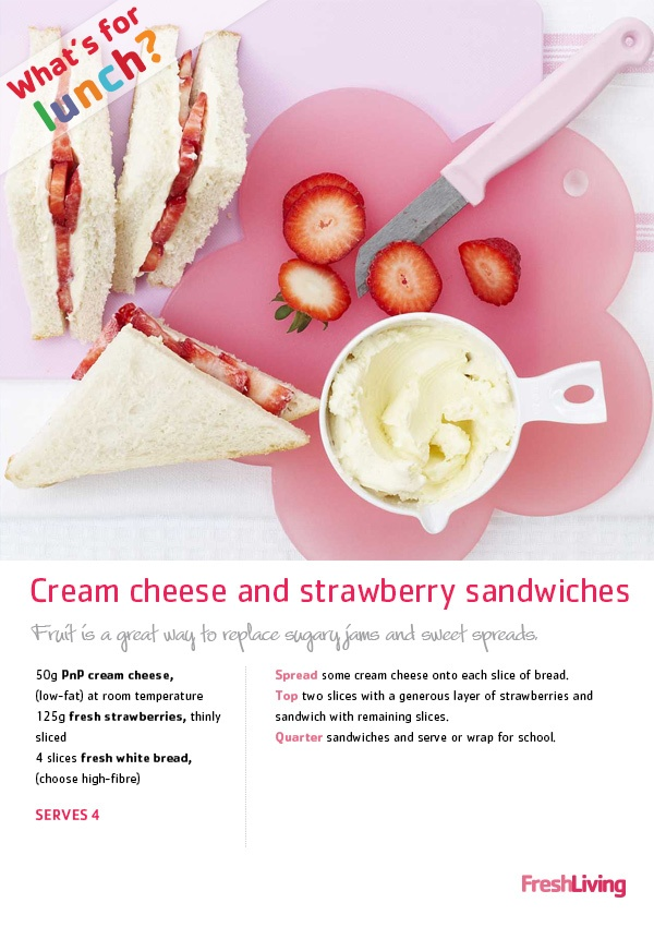 Jam's delicious, but, sadly, it's not the healthiest sandwich option. Sneak sublime strawberry and cream-cheese sandwiches into your kids' lunchboxes for a vitamin C boost. #dailydish #picknpay #sandwiches