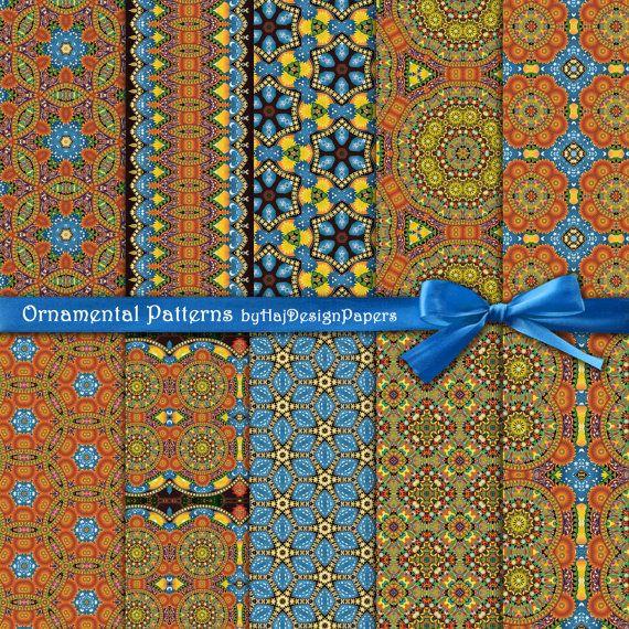 Ornamental Patterns  Instant Download Digital por HajDesignPapers