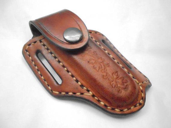 Étui de ceinture en cuir pour couteau de poche, couteau de poche, pochette pour couteaux, knifr Suisse, cuir noir, cuir couleur naturelle, pochette à personnaliser