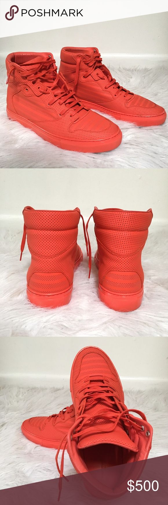 Balenciaga Men's Pleated High top sneakers in Red Worn once or twice, in pristine condition, comes without the shoe box. Fast shipping Balenciaga Shoes Sneakers