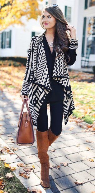 #winter #fashion //  Aztec Print Cardigan .. Black Skinny Jeans // Camel Riding Boots // Camel Leather Tote Bag
