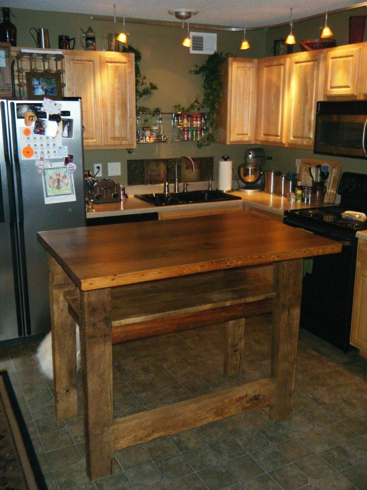 Bar Height Barn Wood Kitchen Island With Overhang And Foot Rail. Wood  Reclaimed From Barn