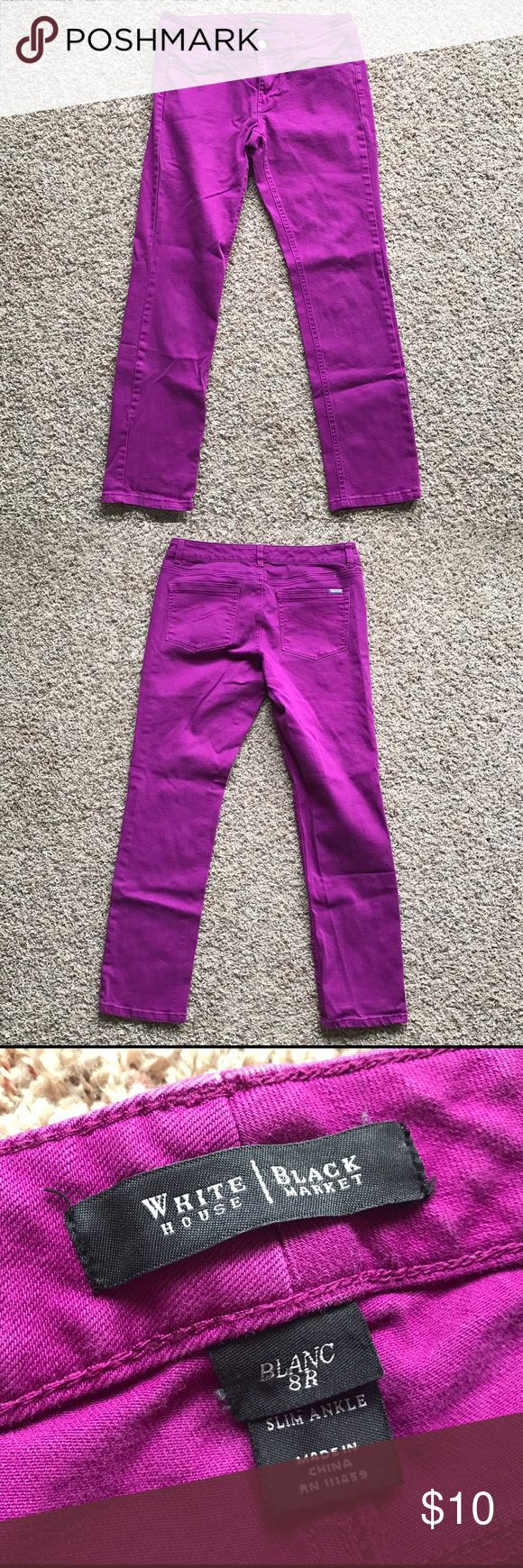 """White House Black Market Purple Jeans Excellent condition. Pretty purple. 29"""" inseam. 15.5"""" waist. Slime ankle. Cotton Stretch. Women's 8R. ❤️ offers accepted and bundle discounts ❤️ White House Black Market Jeans Skinny"""