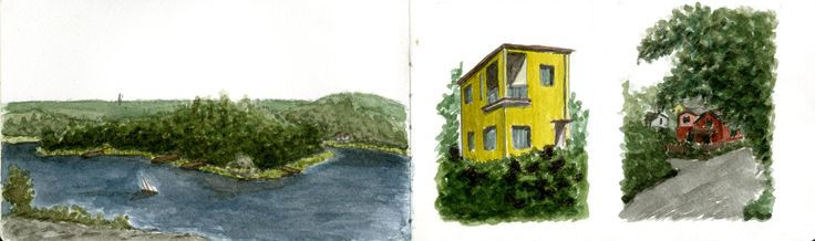Watercolor: the island of Vaxholm