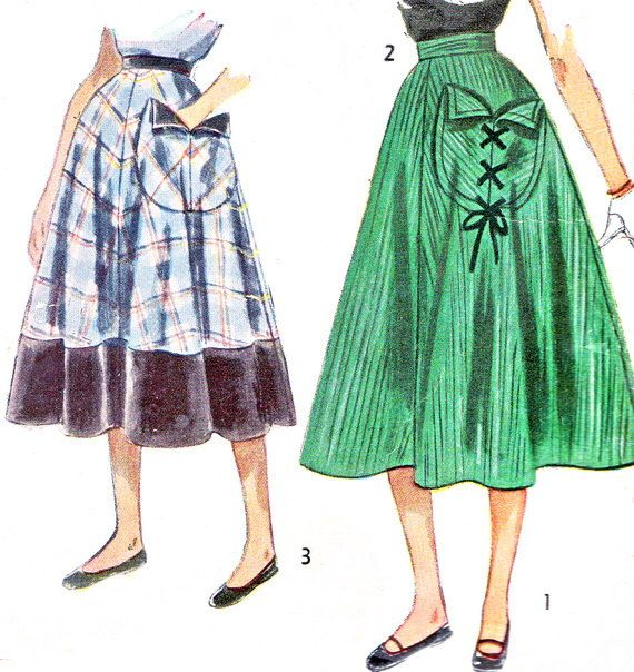 1950s Skirt Pattern Simplicity 3393 Rockabilly Junior Teen Full Skirt with Side Pocket Womens Vintage Sewing Pattern Waist 25