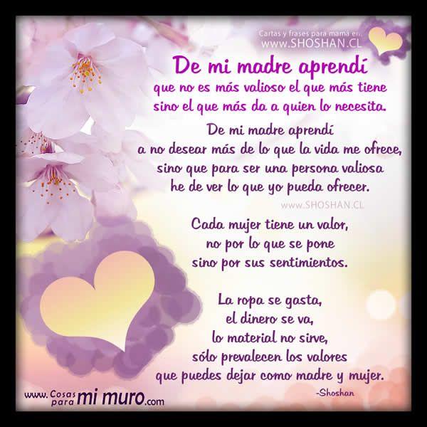 Frases Para El Día De La Madre Querida Madre Te Amo Pinterest