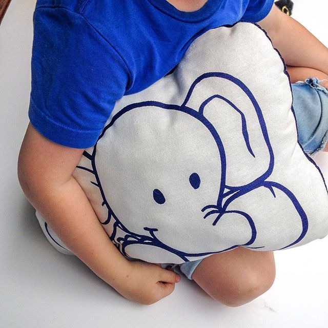 Check out our child's pillow featuring our loveable character Diddy the elephant. Hand printed and hand made in 100% cotton & navy corduroy. #dreamwonderland #pillowsforkids #cushionsforkids