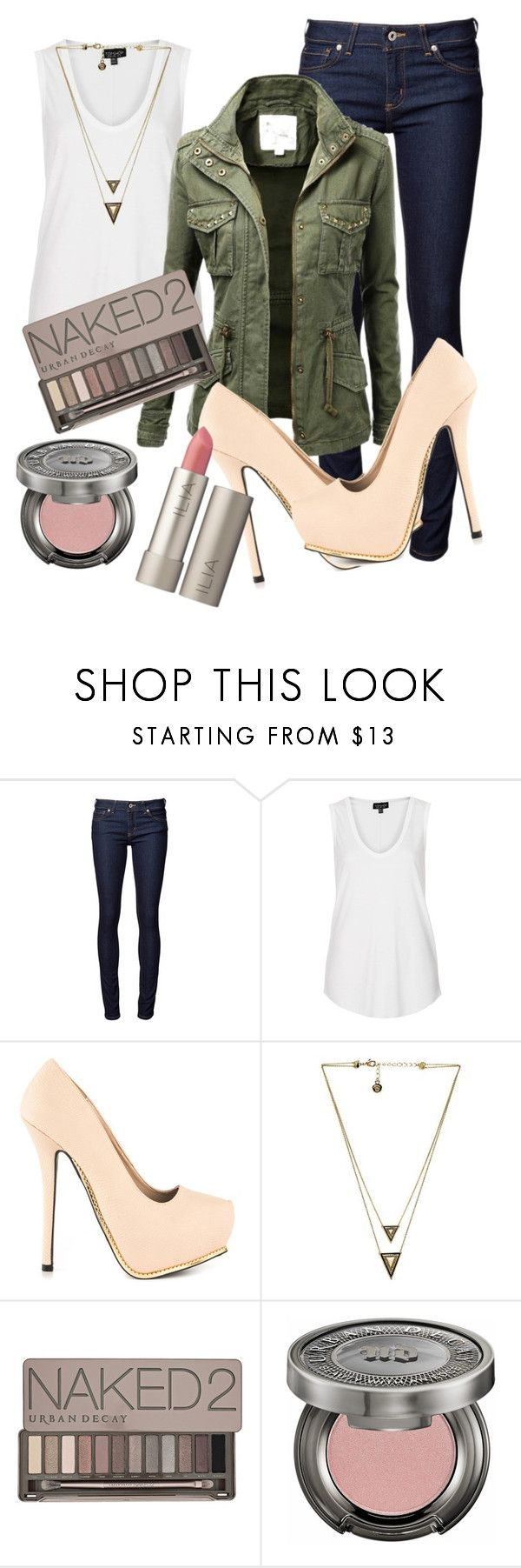 """""""Army Green & Nude Pumps"""" by emma-mae5 ❤ liked on Polyvore featuring Naked & Famous, Topshop, GetUps, Qupid, House of Harlow 1960, Urban Decay and Ilia"""