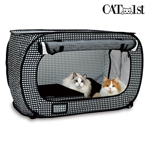 Pop Up Cat Carrier Portable Kennel Travel Lightweight Cage Black Mesh Large Car #CAT1st