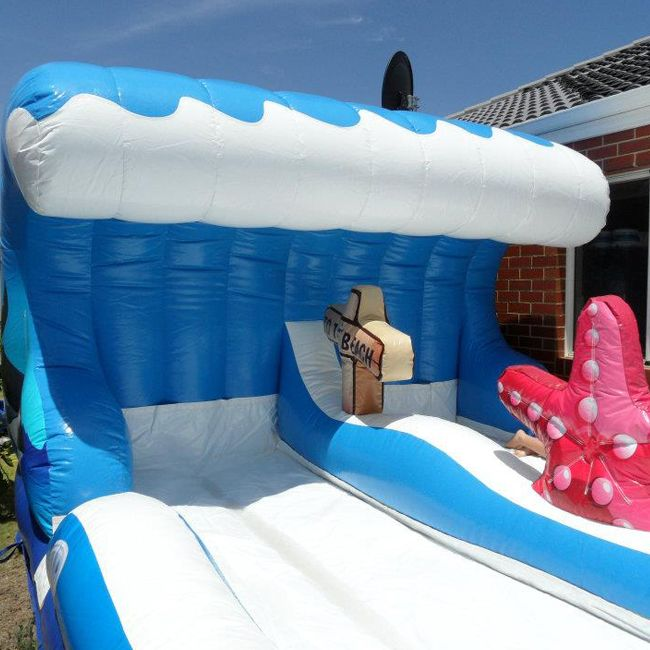 Great fun for kids and adults alike, hire the Surf the Wave for the best way to enjoy a hot summers day, race your friends down the dual side by side track.  #bouncycastle #bouncy www.happyhoppers.com.au
