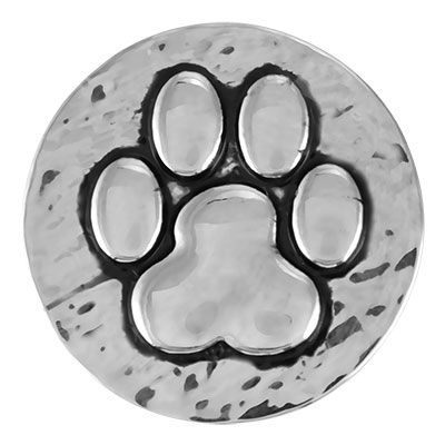 Hammered Paw Print (To wear with purple  gold regular silver snaps)