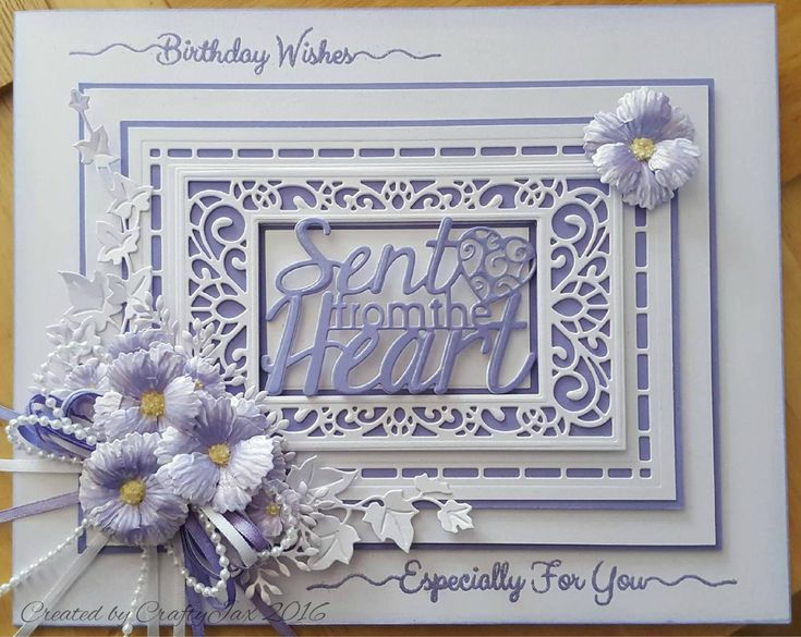 Pretty card made with Sue Wilson dies in shades of Lavender, Lilac and Bluebell.