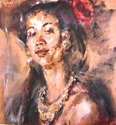"""""""Potret wanita Bali"""" by Antonio Blanco, Medium: Water color on paper, Size: 33cm x 34,5cm"""