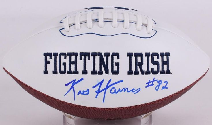 Kris Haines Signed Notre Dame Fighting Irish Logo Football with Inscriptions & Hand Drawn Play