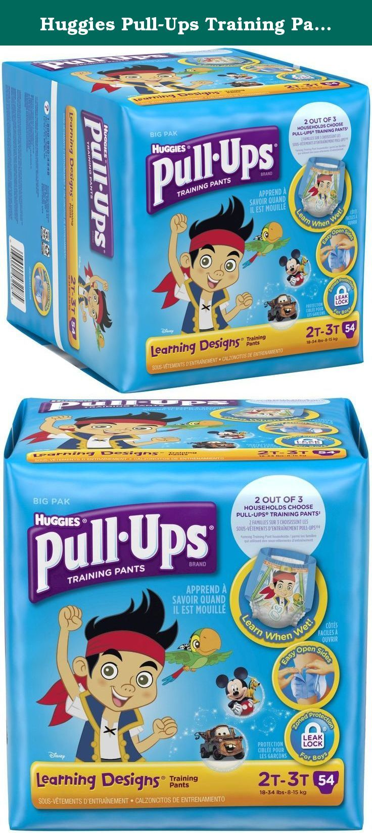 Huggies Pull-Ups Training Pants Learning Designs - Boys - 2T-3T - 54 ct. 2T-3T Pull-Ups® Training Pants with Learning Designs® for Boys feature unique designs that teach front and back and fade when wet to help your toddler learn. Pull-Ups® potty training pants with stretchy sides allow kids to pull them on and off, and Disney characters help make training pants seem like Big Kid underwear. Our easy-open sides make checking for potty breaks simple. Start potty training today! .
