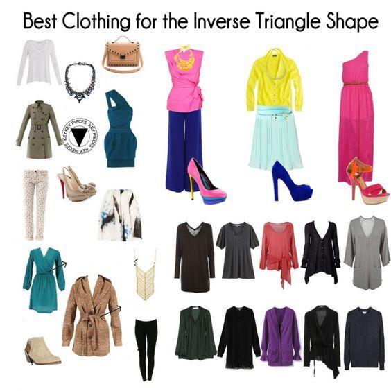 Conseils comment s'habiller selon sa morphologie en V, trouver ses vêtements, accessoires de mode pour une femme avec une silhouette en triangle inversé.