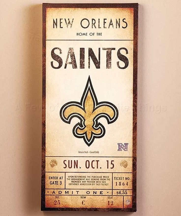 NEW ORLEANS SAINTS NFL CLASSIC TICKET WALL ART PICTURE SIGN FOOTBALL HOME DECOR #Unbranded #NewOrleansSaints