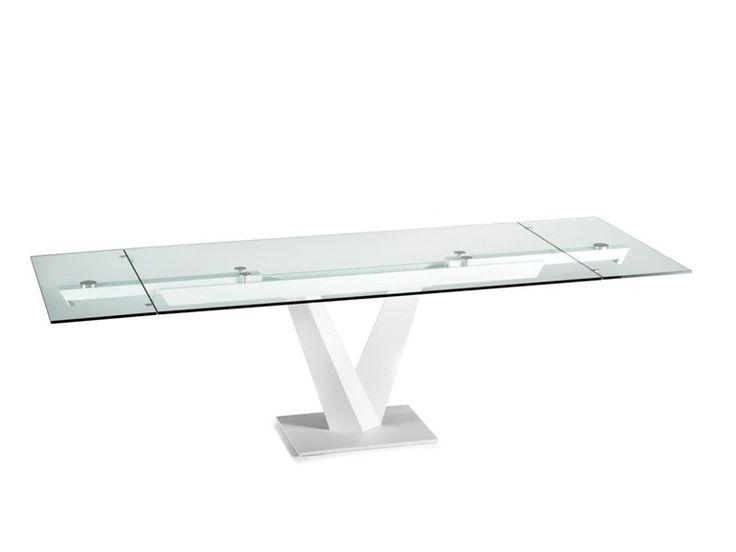 Mesa extensível de jantar retangular de cristal | NAOS