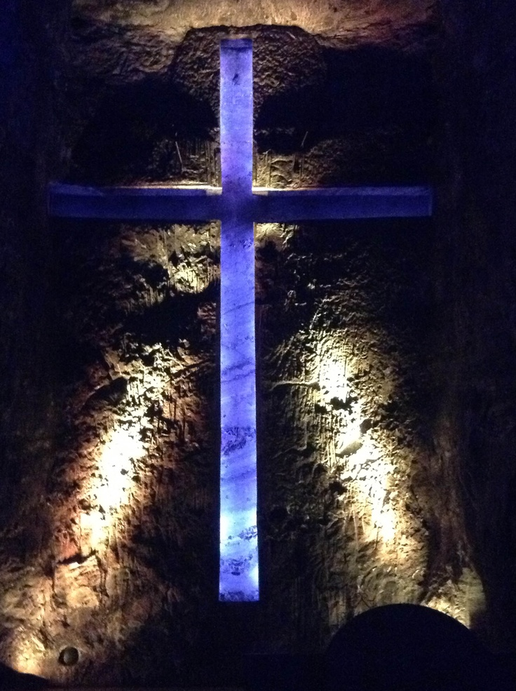 Giant Cross in the main nave of the Catedral de Sal in Zipaquirá, Colombia right outside of Bogota.