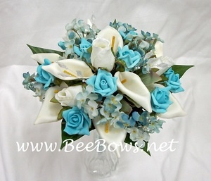 tiffany blue and white wedding bouquet - lilies and roses