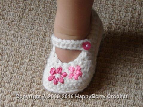Lazy Daisy Girl's Shoes  https://www.happyberry.co.uk/free-crochet-pattern/Lazy-Daisy-Girl%E2%80%99s-Shoes/5050/