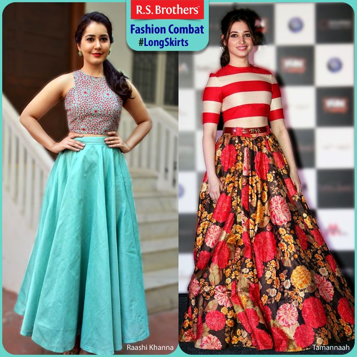 #FashionCombat  Unveil the real Trendy Diva in you, by wearing #longSkirts!  These kinds of long skirts always gives a special look in every event. Most of all Celebrities give their first preference for these attires to grab all eyes on them! By the way In both who's looking more gorgeous in long skirts? Share your opinion in comments. (Image copyrights belong to their respective owners)