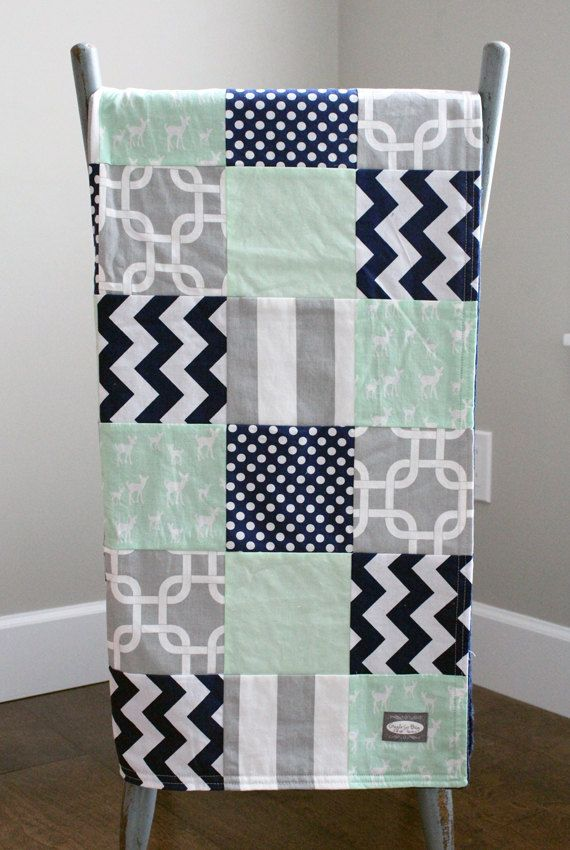 Patchwork Baby Blanket  Grey Navy and Mint Deer by GiggleSixBaby