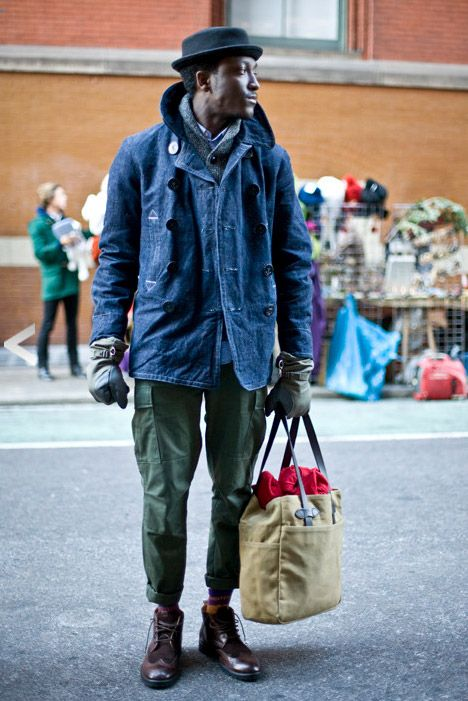 Denim Coat, Olive Green Cargo Pants, Pork Pie Hat, and Scarf. Mend Fall Winter Street Style Fashion.