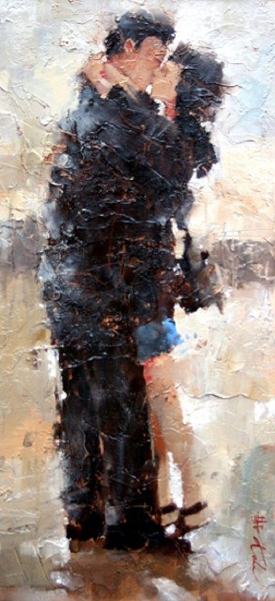 """""""The Kiss"""", pintura de 2010 do artista russo Andre Kohn.  Veja também: http://semioticas1.blogspot.com.br/2011/08/heine-tal-e-qual.html"""