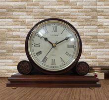 Madera antigua de envío gratis manto reloj reloj de mesa, estilo de la decoración de madera reloj de escritorio(China (Mainland))