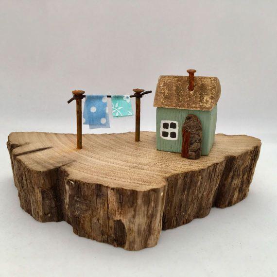 Little Driftwood House Duck Egg Blue Miniature Wooden