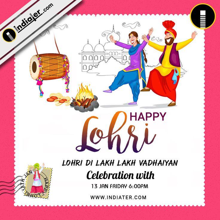 happy lohri invitation postcard greetings design psd