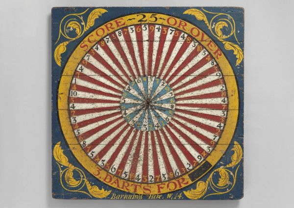 Original Vintage Fairground Target Game Board - Inscribed 'SCORE 25 OR OVER' '3 DARTS FOR --'  'Barnham's Hire. W.14', Hand Painted Wood and Wire, English, c.1910